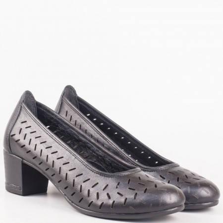 Черни ортопедични обувки на среден ток от естествена кожа на български производител 14277916ch