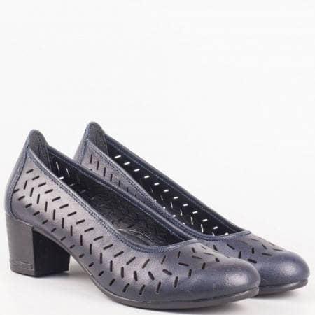 Български сини дамски обувки на среден ток от естествена кожа с ортопедична стелка- Nota Bene  14277916s