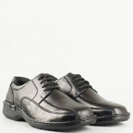 Мъжки ежедневни обувки на комфортно ходило в черен цвят 146426ch