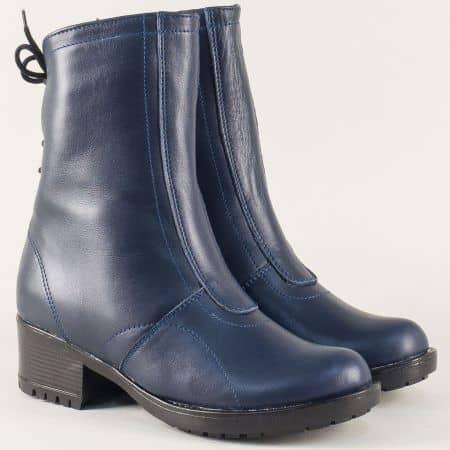 Сини дамски боти на среден ток от естествена кожа 146658s