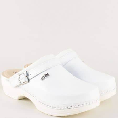 Кожени мъжки чехли в бял цвят 147514b