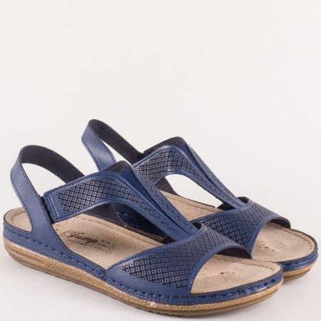 Сини дамски сандали с анатомична стелка на шито и комфортно ходило 14768s