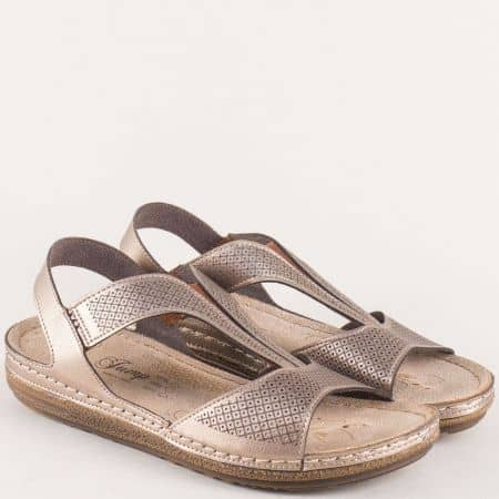 Златисти дамски сандали на анатомично равно ходило 14768zl