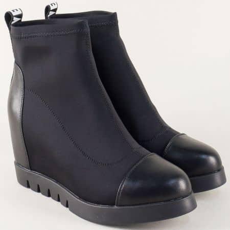 Дамски боти в черен цвят на клин ходило  148067sch