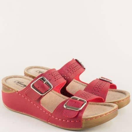Дамски чехли на платформа с анатомична стелка в червен цвят 14871chv