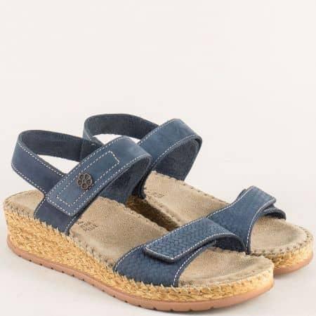 Български дамски сандали на платформа в син цвят 14927s