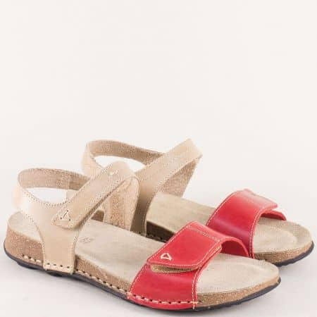 Дамски сандали на равно и комфортно ходило от естествена кожа в бежов и червен цвят 14930bjchv