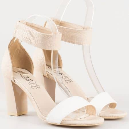 Дамски елегантни сандали със естествена кожена стелка на българския производител Eliza в бяло и бежово 15001bj