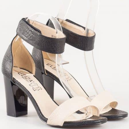 Дамски стилни сандали със естествена кожена стелка на българския производител Eliza в черно и бежово 15001ch