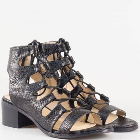 Дамски ежедневни сандали изработени от висококачествена еко и естествена кожа на българския производител Eliza в черен цвят 1500514ch
