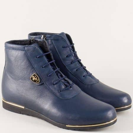 Сини дамски боти от естествена кожа с връзки и цип  1501457s