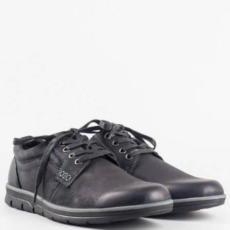 Мъжки комфортни обувки на равно ходило с връзки в черен цвят 15059072ch