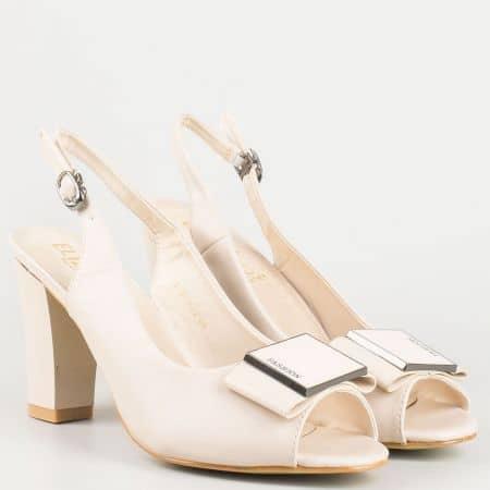 Бежови дамски сандали на висок ток  1510032bj