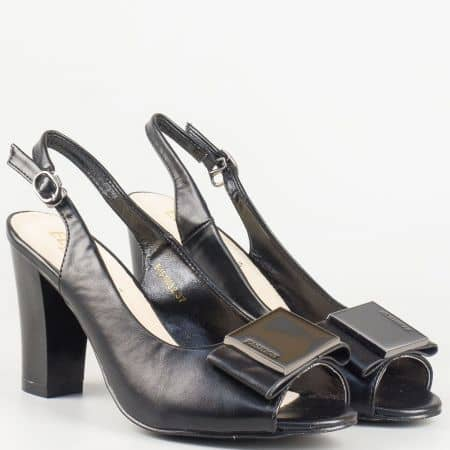 Черен дамски сандал на висок ток с мека стелка от естествена кожа 1510032ch