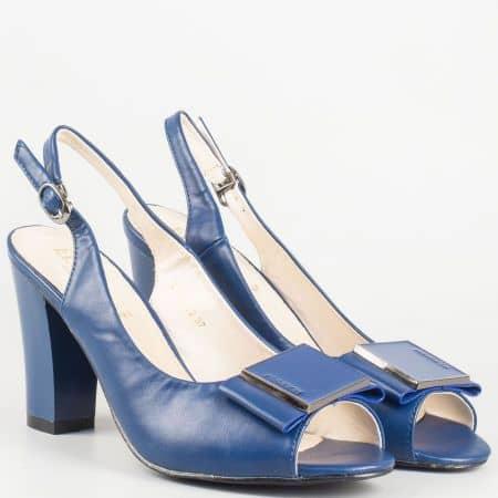 Дамски сини сандали на висок ток с кожена стелка- Eliza  1510032s