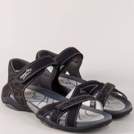 Черни юношески сандали от естествен набук с две лепки 15101ch