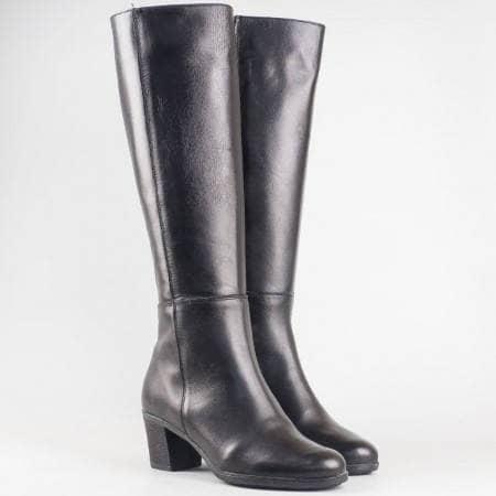 Дамски стилни ботуши изработени от висококачествена естествена кожа на български производител в черен цвят 15102ch
