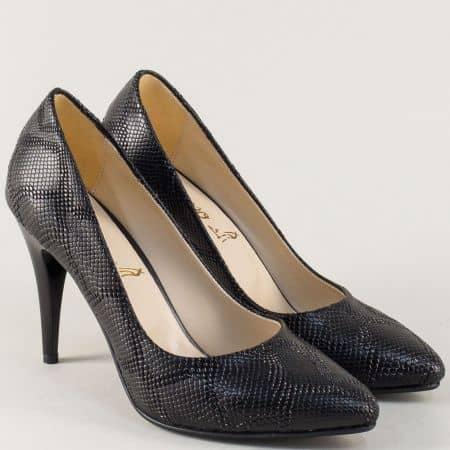Стилни дамски обувки на висок ток в черен цвят 1510zch