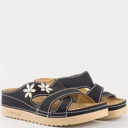 Дамски практични чехли със ортопедична стелка с 5 пет зони на комфорт в черен цвят  15153001ch