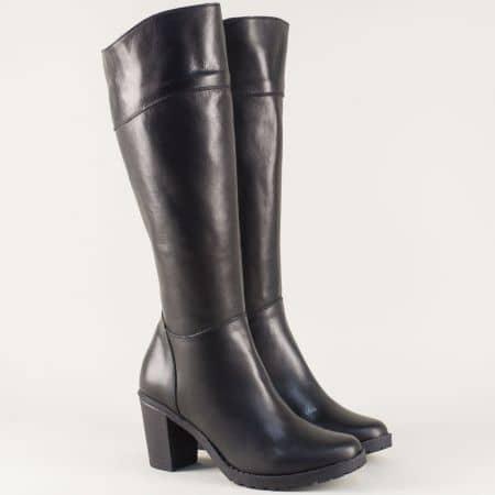 Черни дамски ботуши на висок ток от естествена черна кожа 15201ch