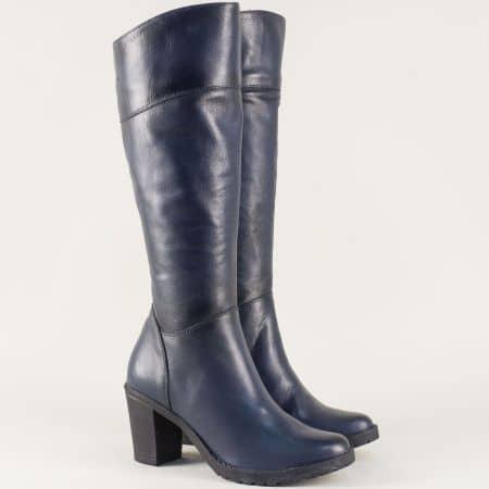 Сини дамски ботуши на стабилен ток от естествена кожа 15201s