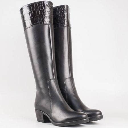 Дамски стилни ботуши произведени от 100% естествена кожа на водещ български производител в черен цвят 1520236ch