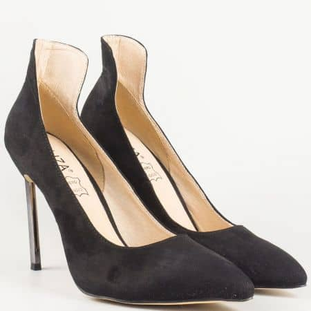 Дамски елегантни обувки на висок метален ток в черен цвят- Eliza със стелка от естествена кожа 1522805ch