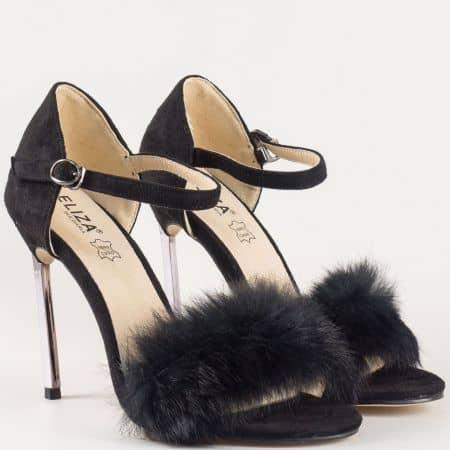 Интересни дамски сандали на висок ток с пухчета и стелка от естествена кожа- Eliza в черен цвят 1522806ch