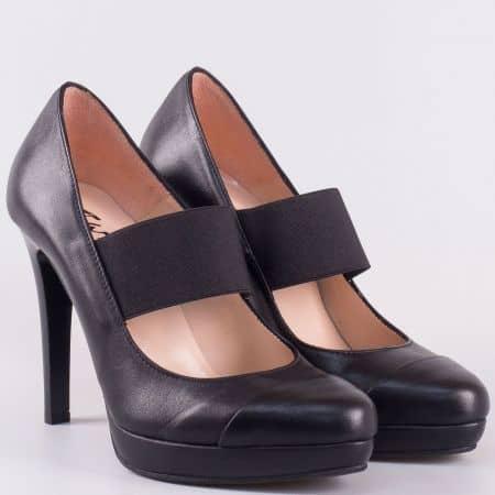 Черни дамски обувки на висок ток от естествена кожа- български производител 15261ch