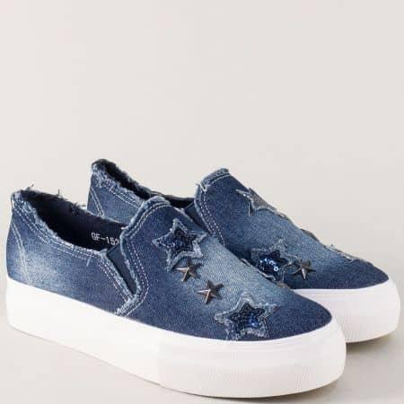 Дамски спортни обувки в син цвят на равно ходило  152dss