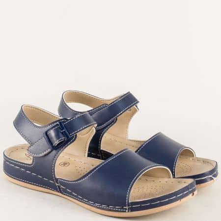Дамски сандали на равно и комфортно ходило в син цвят 154012s