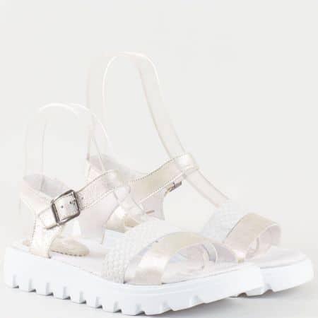 Дамски ежедневни сандали изработени от 100% естествена кожа на български производител в бял и сив цвят 15445939bj