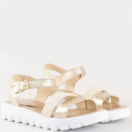 Дамски атрактивни сандали на актуално бяло ходило изработени от висококачествена естествена кожа, включително и стелката на български производител в зластисто 15445939zl