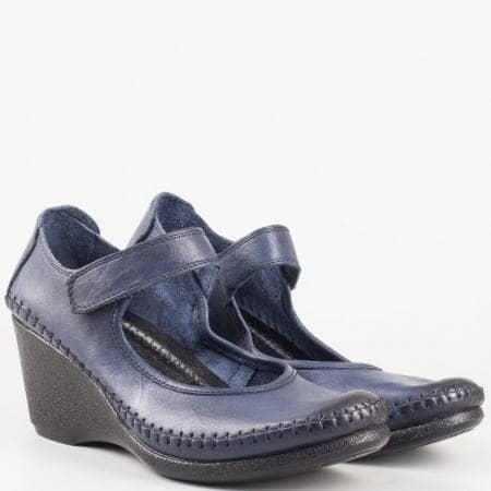 Сини ортопедични дамски обувки на платформа изцяло от естествена кожа 1555327s