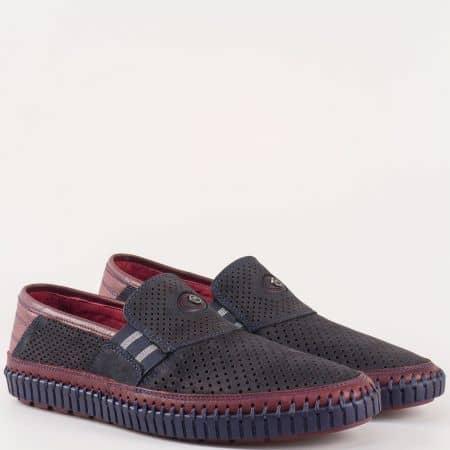 Мъжки комфортни обувки за всеки ден изработени от 100% естествени материали - набук и кожа в синьо,черено и бордо 15600s