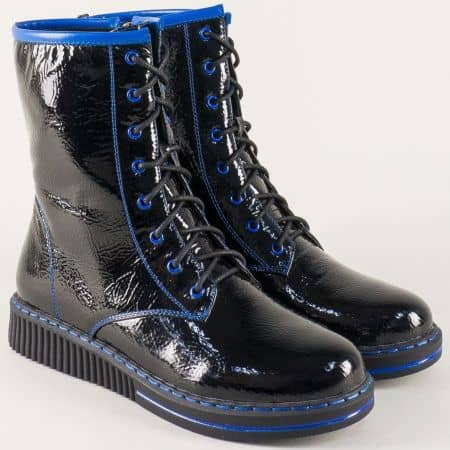 Дамски боти с връзки и цип в черно и синьо 156032chs
