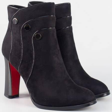 Дамски елегантни боти на висок удобен ток в черен цвят 156036vch