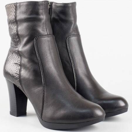 Дамски черни боти от висококачествена естествена кожа със змийски принт на български производител 15694ch