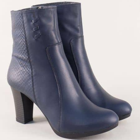 Сини дамски боти от естествена кожа на висок ток 15694zs