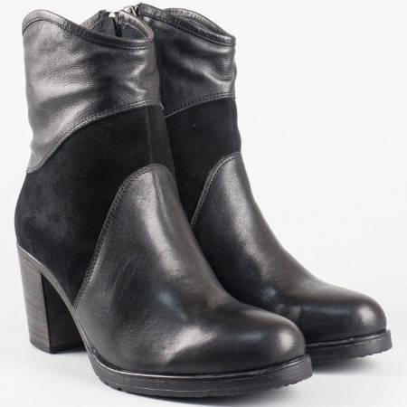 Дамски ежедневни боти в комбинация от естествен велур и кожа в черен цвят на известен български производител 1570793ch