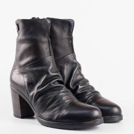 Български дамски боти в черен цвят от 100% естествена кожа 1570794ch