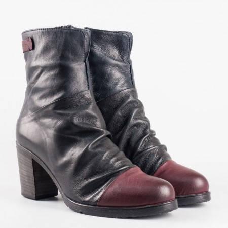 Български дамски боти от естествена кожа, в модна цветова комбинация от черен и червен цвят 1570794chbd