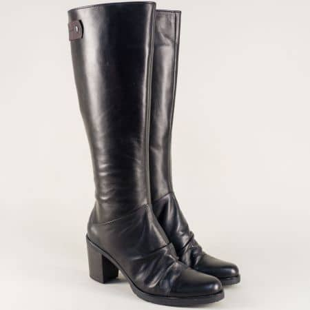 Дамски стилни ботуши в черен цвят изработени от висококачествена естествена кожа с грайфер на български производител  1570795ch