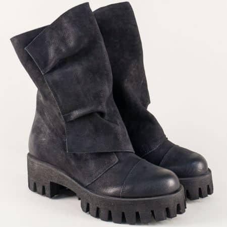 Черни дамски боти на модерна платформа от естествен набук 1576763nch