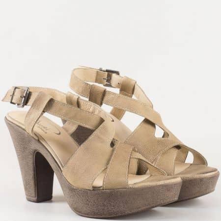 Дамски атрактивни сандали произведени от 100% естествена кожа на комфортно ходило на български производител в кафяво 1578702k