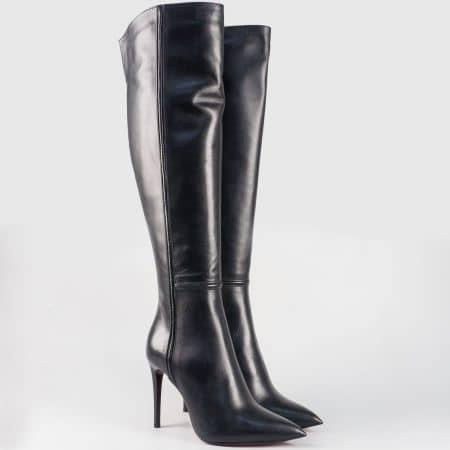 Дамски ботуши на висок ток от черна етествена кожа- български производител 15914ch