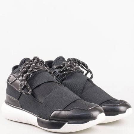 Спортни дамски обувки с ластик и връзки в черно и бяло 16009261ch