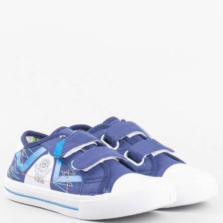 Детски комфортни кецове с велкро лепенки на Mat star в син цвят 16014176s