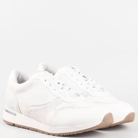Дамски ежедневни маратонки със змийски принт на Mat star в бял цвят 16015364b