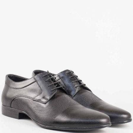 Мъжки елегантни обувки с връзки от естествена кожа в черен цвят 16039ch